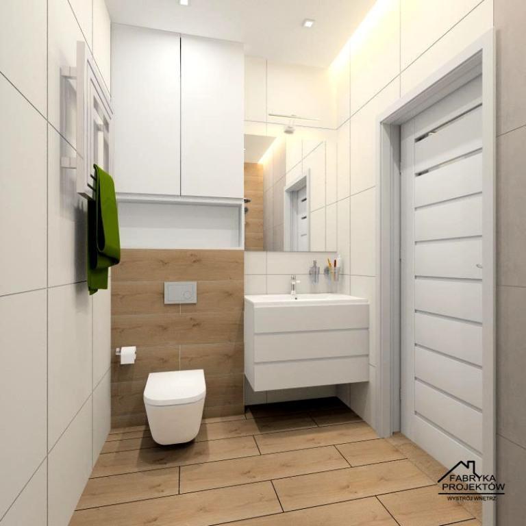 Łazienka z drewnem i bielą, drewniane płytki, zabudowa geberitu, szafka podwieszana z umywalką i lustrem, podwieszany sufit, mała łazienka w stylu skandynawskim