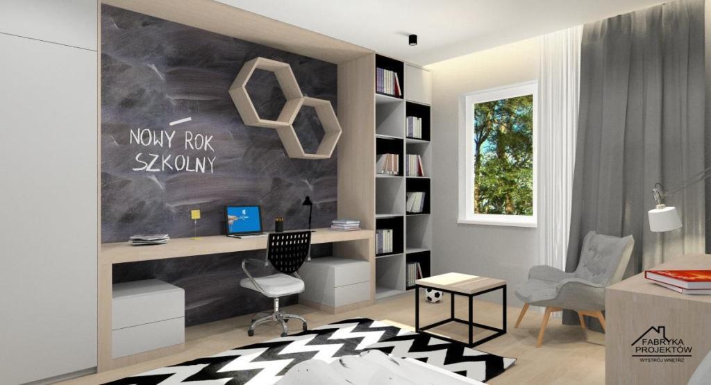 pokój młodzieżowy dla chłopca,drewno i biały w pokoju nastolatka,zabudowa ,biurko,ściana tablicowa,fotel,półki,szafa,łózko,biurko z zabudową