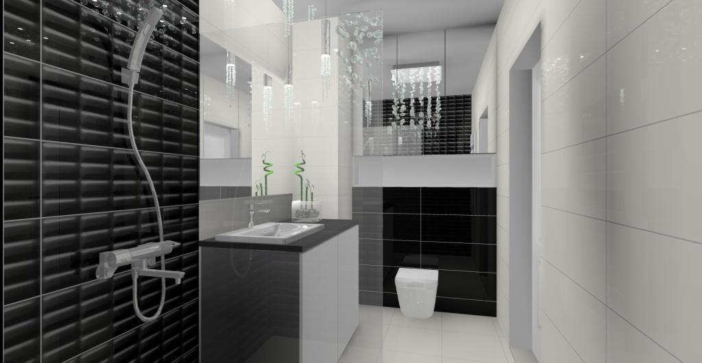 łazienka urządzona w stylu glamour ,białe płytki, czarne płytki, żyrandol glamour, zabudowa geberitu, duże lustro w małej łazience, prysznic