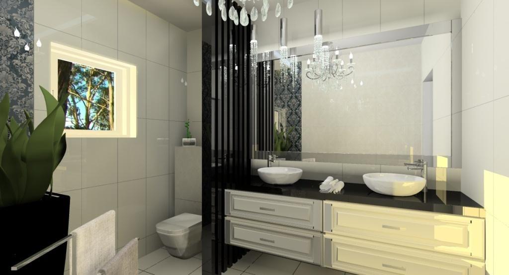 Łazienka w stylu glamour, dwie umywalki, duże lustro, panele, czarna donica, żyrandol glamour, fototapeta w łazience, czarny blat, białe płytki