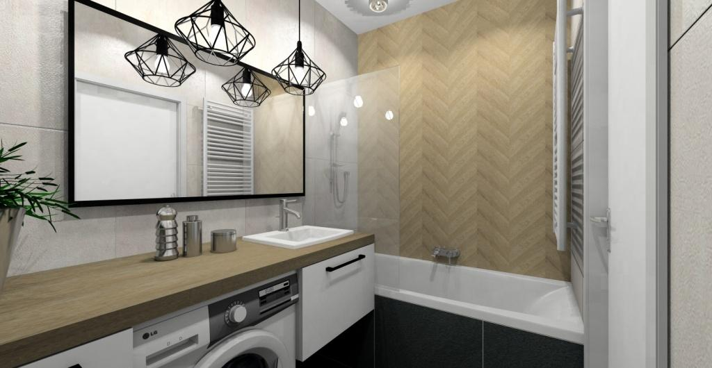 Aranżacja łazienki z drewnem, białym, szarym i czarnym, styl skandynawski, drewniana ściana za wanną, drewniany blat w łazience, duże lustro w czarnej ramie, lampy skandynawski, szare płytki, drewnopodobne płytki