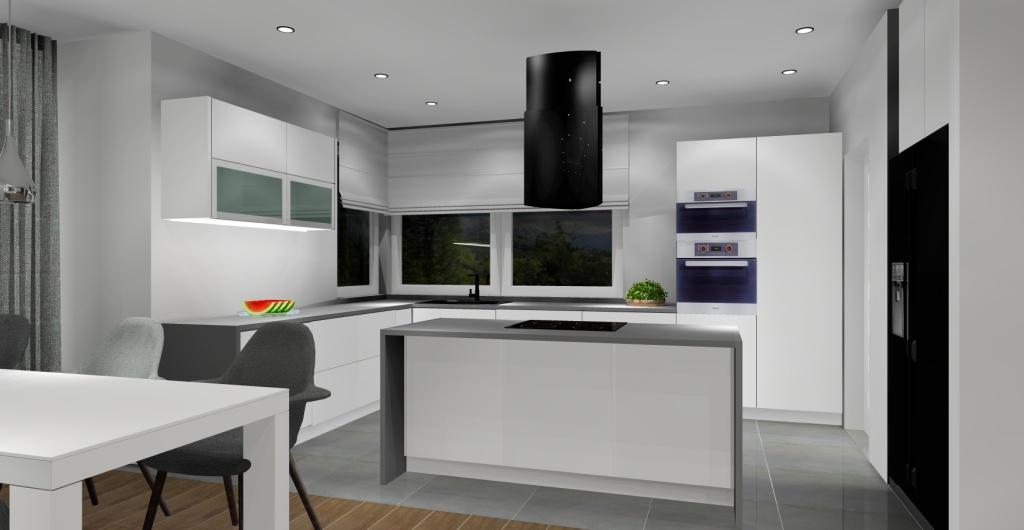 Aranżacja salonu z kuchnią w stylu nowoczesnym