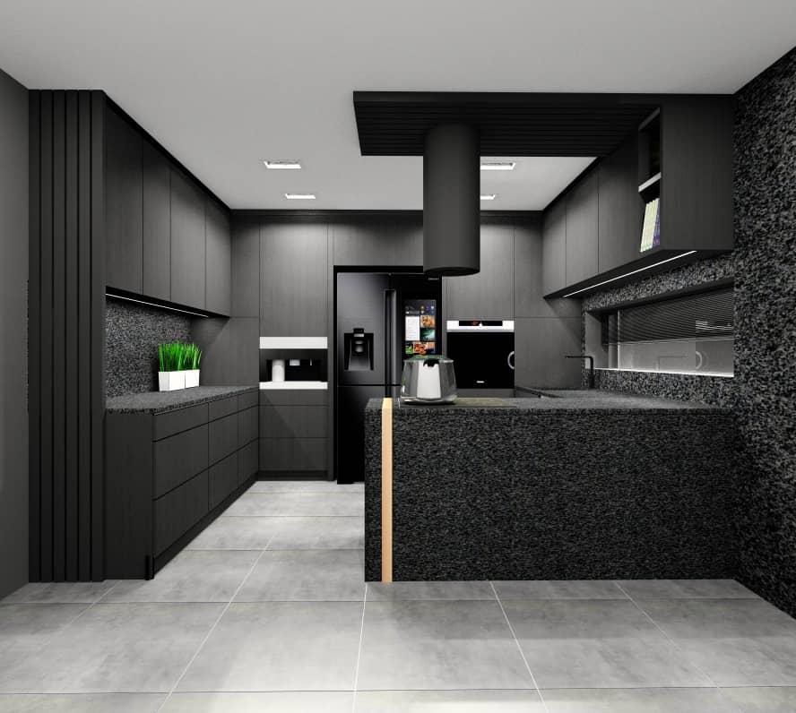 Czarna kuchnia- pomysł na wystrój wnętrza, aranżacja i projekt wnetrz, wyspa w kuchni