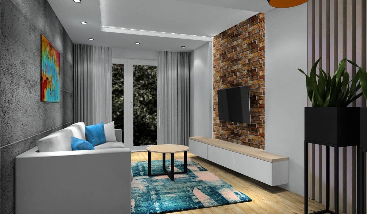 Beton na ścianie w salonie, projekt wnętz
