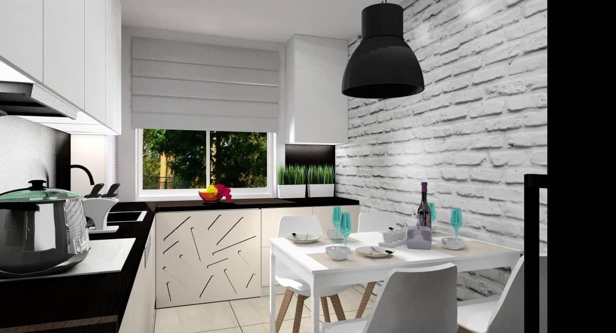 Kuchnia, projekt, cegła na ścianie za stołem, cegła w kolorze białym