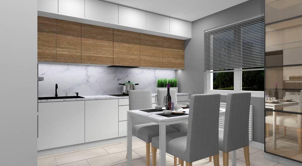 Kuchnia, projekt wnętrz z blatem marmur oraz płytkami marmurowymi nad blatem