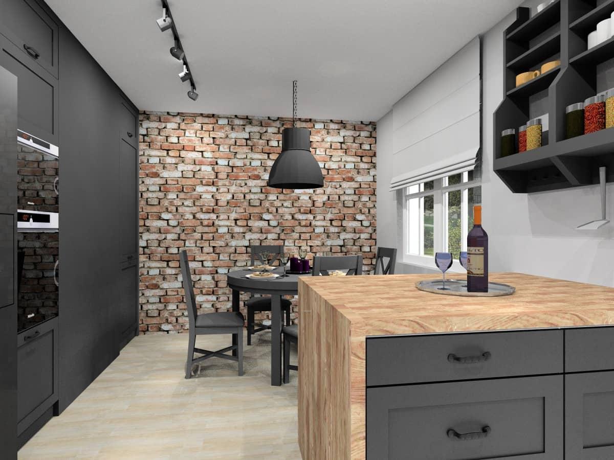 Kuchnia, projekt wnętz z cegłą na ścianie
