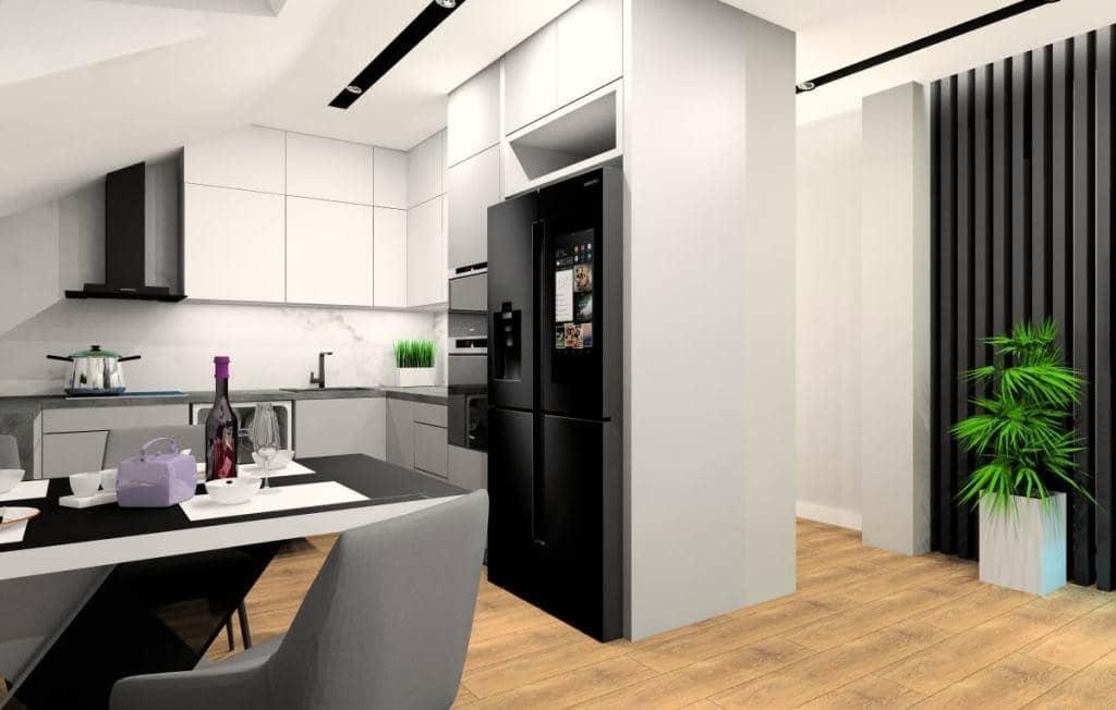 Kuchnia, projekt wnętrz kuchni z marmurem nad blatem pomiędzy szafkami kuchennymi