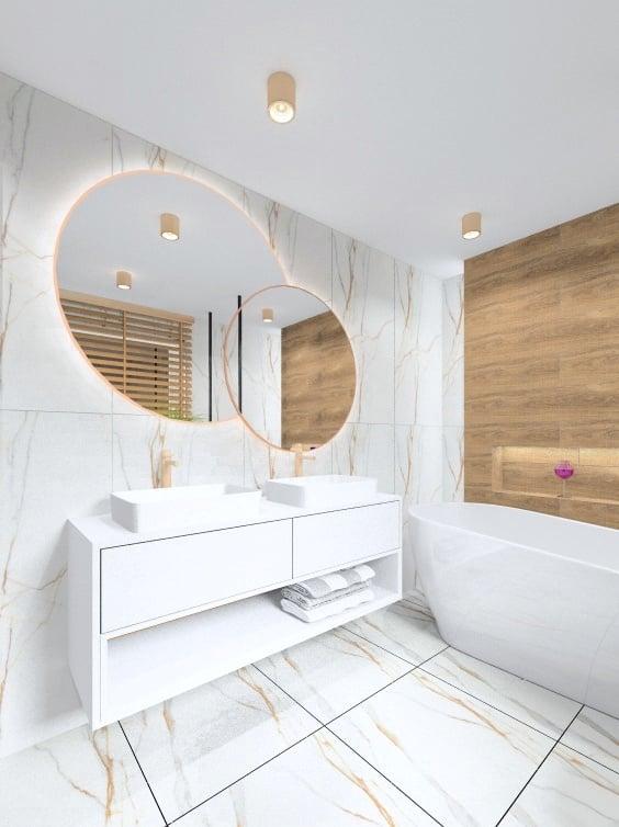 Łazienka, projekt łazienki ze złotem i drewnem