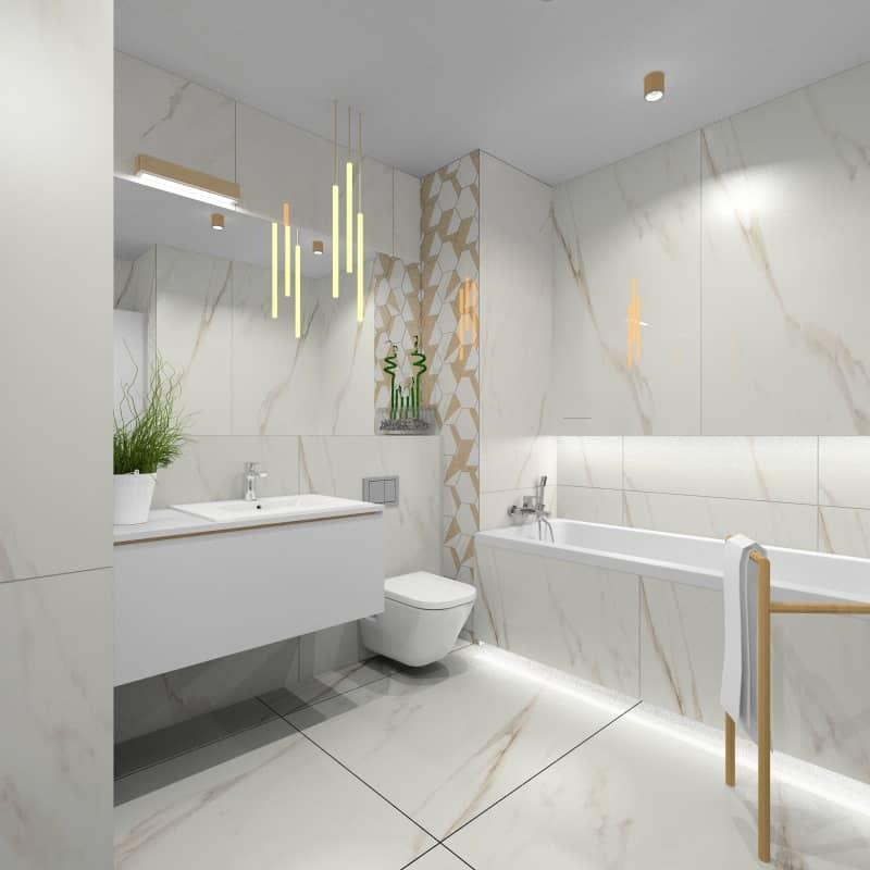 Łazienka, projekt wnętrza z płytkami imitującymi marmur biały, szary, złoto