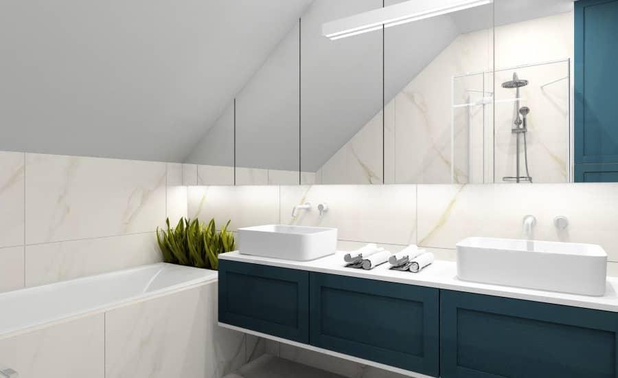 Łazienka, projekt wnętrz z płytkami imitującymi marmur