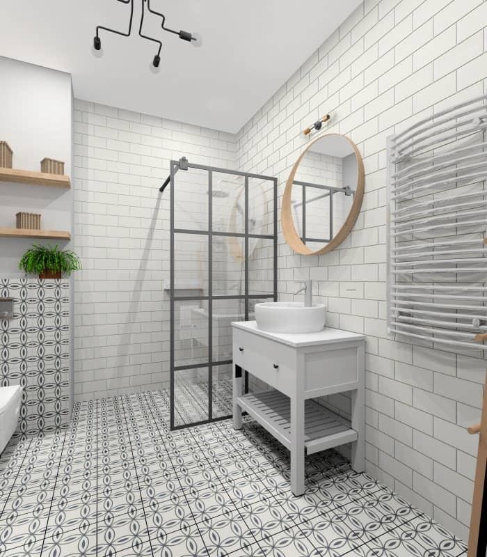 Łazienka z białymi płytkami na ścianie i czarno-białe na podłodze