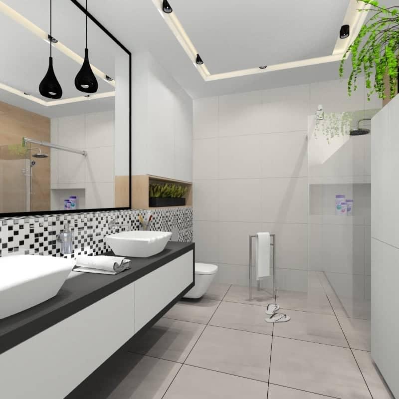 Projekt łazienki z białymi płytkami z dodatkiem płytek czarnych