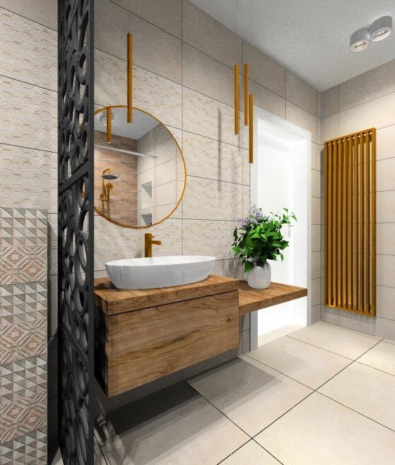 Łazienka, złote dodatki w łazience
