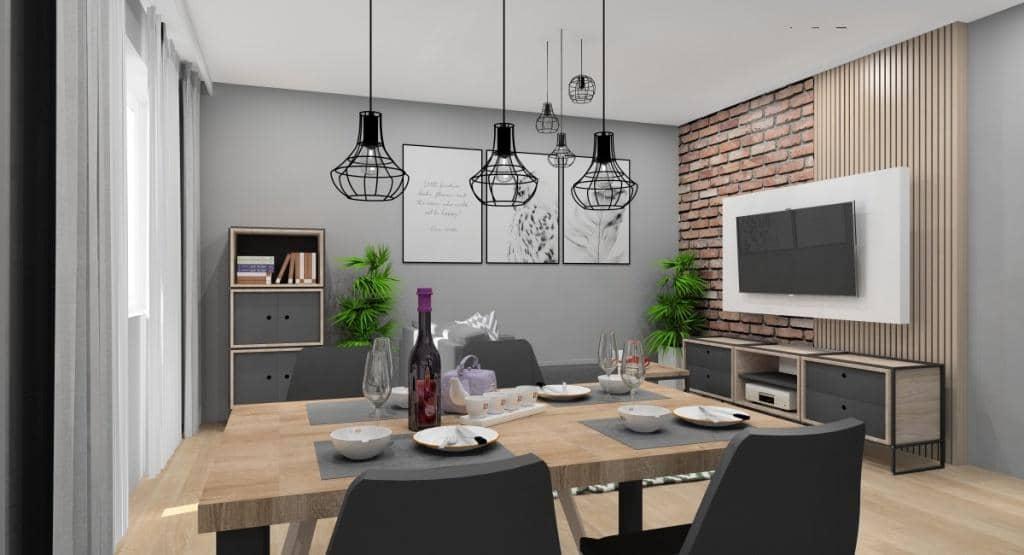 Mały salon, ciekawy pomysł, ściana telewizyjna z cegłą i drewnem, plakaty na ścianie, sofa na środku salonu