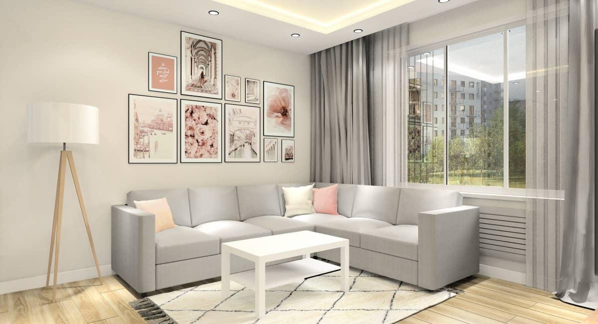 Mały salon, pomysł na aranżację, plakaty pudrowy róż na ścianię za sofą, piękna lampa, sufit podwieszany