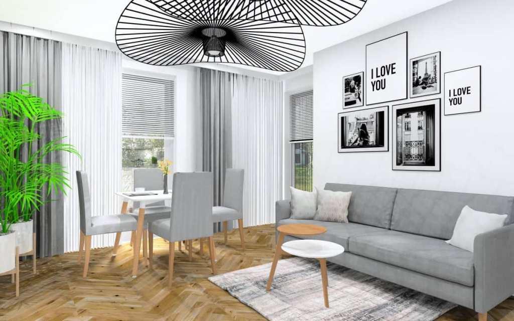 Mały salon w bloku, projekt salonu w stylu nowoczesnym