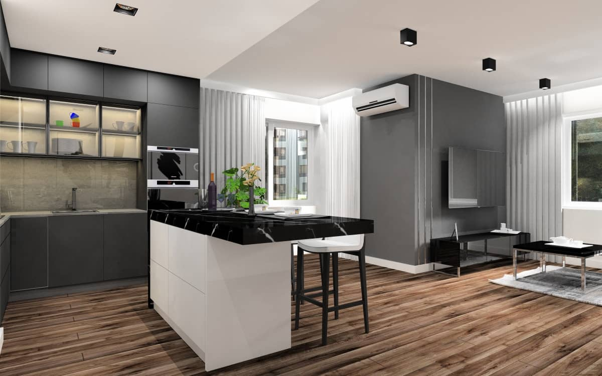 Mały salon z kuchnią, pomysł na aranżację i projekt wnętrz, listwy aluminiowe na ścianie telewizyjnej, kuchnia w kolorze grafitu, wyspa z hokerami