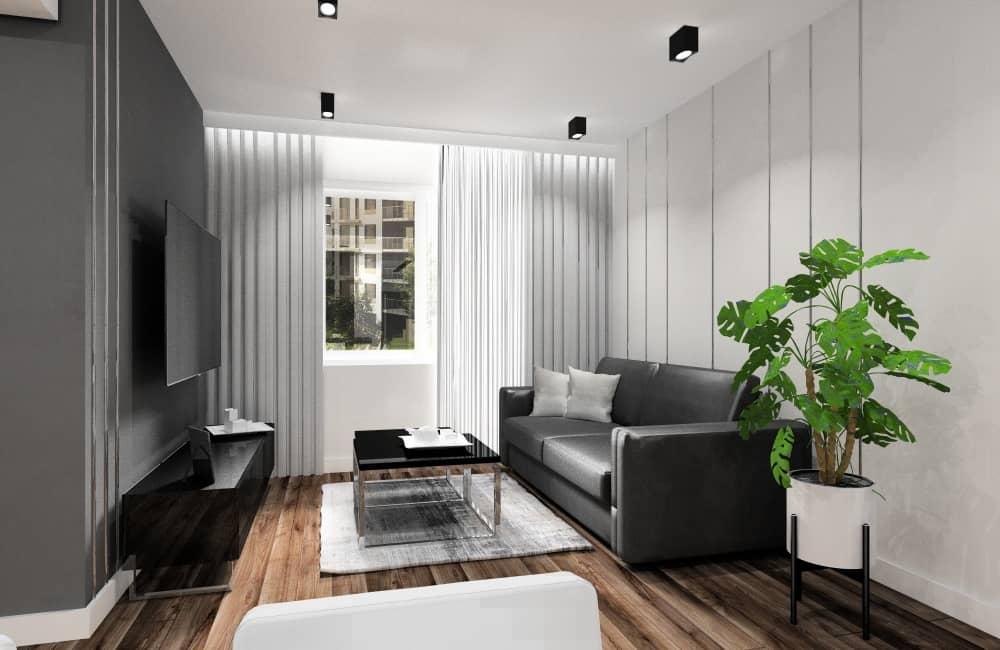 Mały salon, pomysł na aranżację i projekty wnętrz, listwy alumioniowe w ścianie, sofa skórzana, stolik kawowy szklany czarny