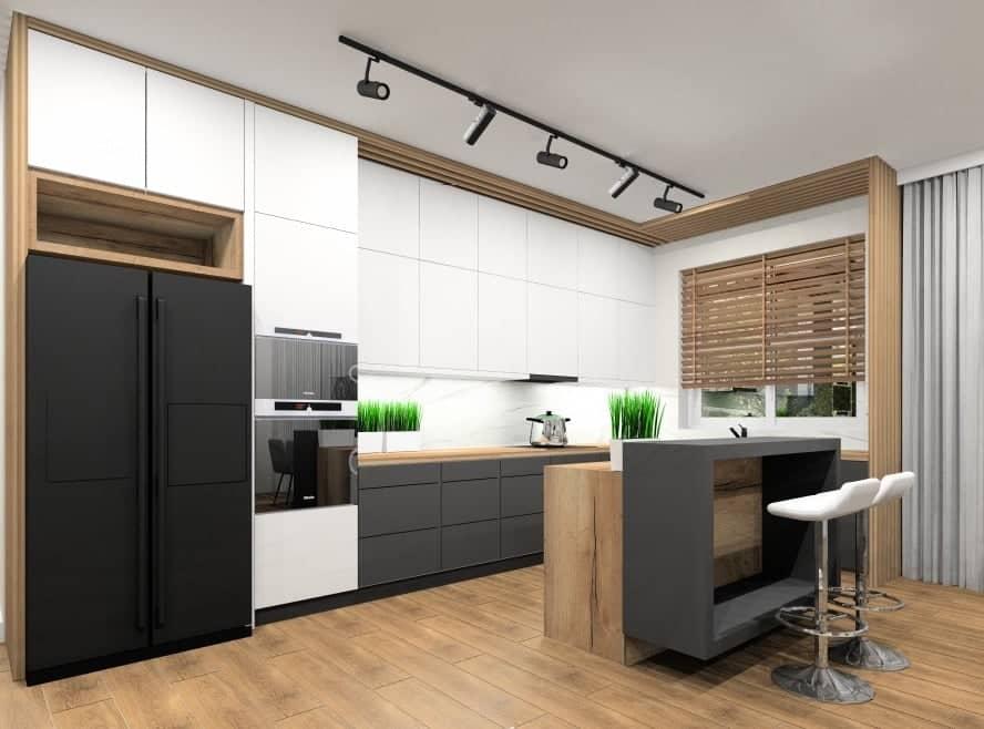 Marmur na ścianie – projekty wnętrz mieszkania: Kuchnia