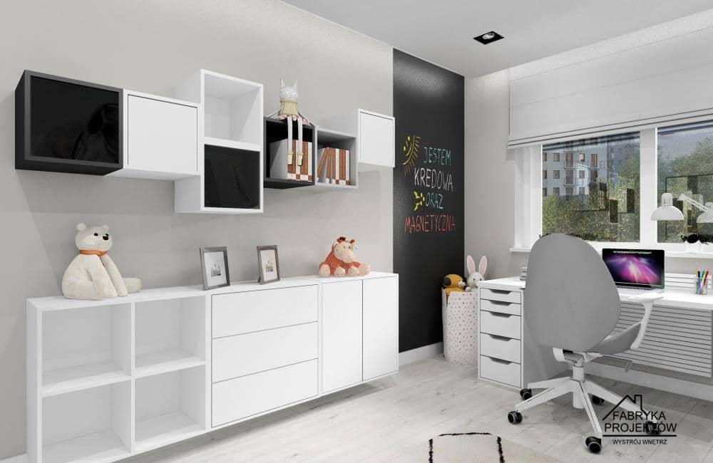Pomysł na przechowywanie w pokoju dziewczynki, szafki IKEA EKET, pomysł na ścianę tablicową