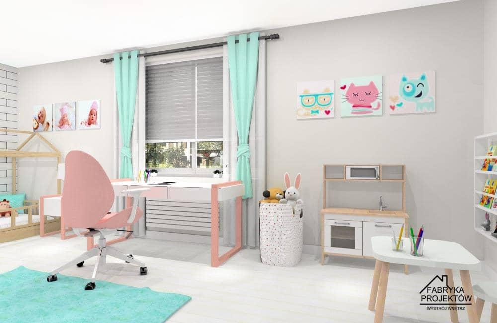 Pomysł na pokój w kolorach pastelowowych, zasłonki miętowe, biurko białe, pudrowy róż, plakaty miętowe, pudrowy róż, krzesło do biurka pudrowy róż