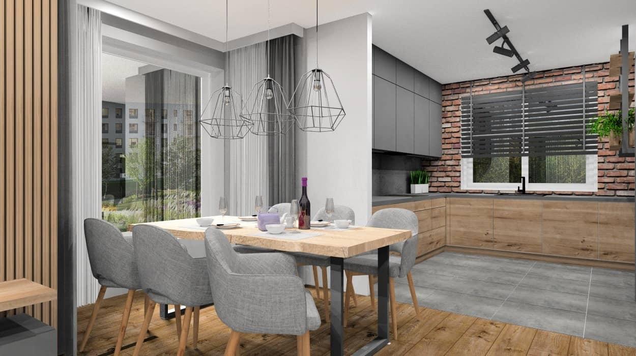 Projekt kuchni z cegłą na ścianie, cegła nad blatem kuchennym