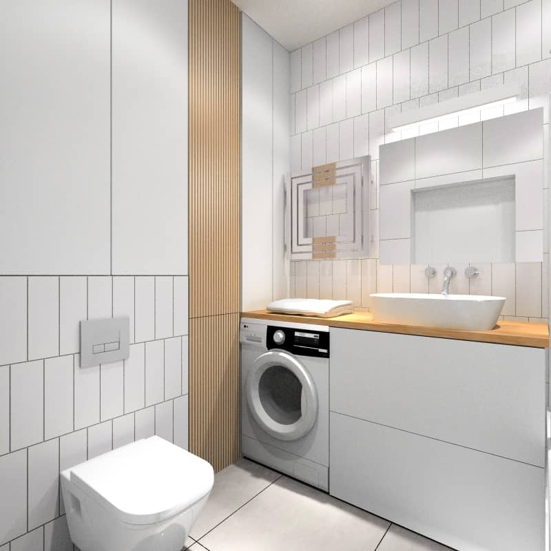 Łazienka, projekt z białymi płytkami z dodatkiem płytek drewnopodobnych