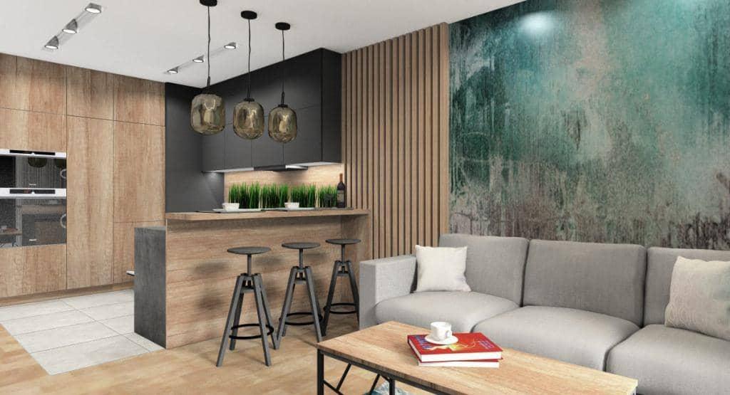 Salon, projekt salonu z fototapetą za narożnikiem na ścianie, beton, turkus