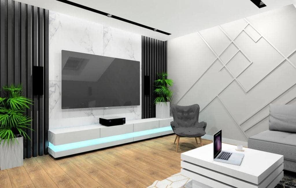 Salon, projekt wnętrz z marmurem na ścianie telewizyjnej