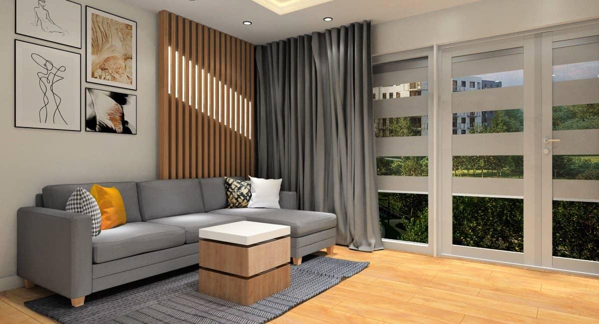 Ściana z drewnem za kanapą w salonie