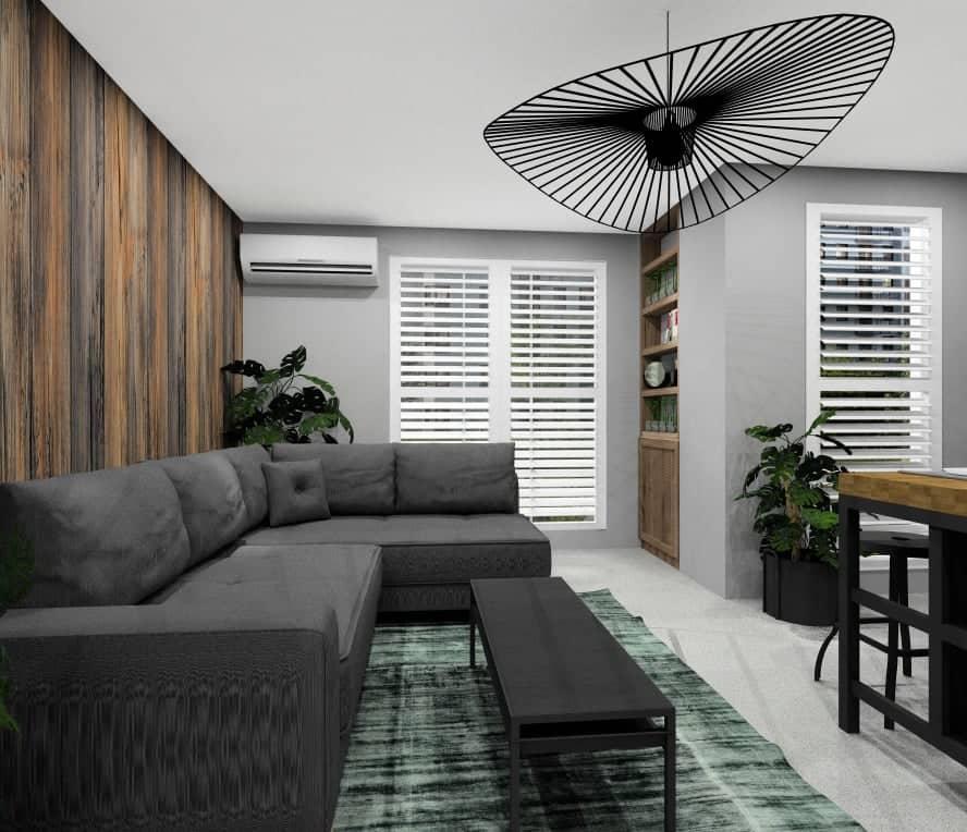 ściana w salonie w drewnie, projekt wnętrza w stylu nowoczesnym