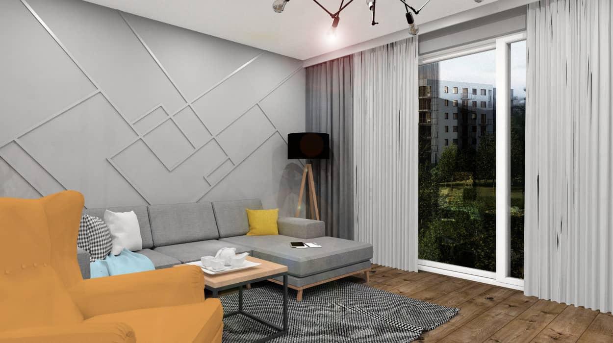 Sztukateria na ścianie w salonie, projekt wnętrz w stylu nowoczesnym