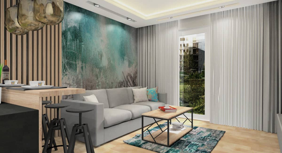 Tapeta i fototapeta na ścianę za kanapą w salonie