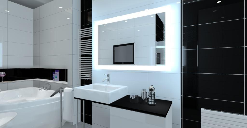 Łazienka w stylu nowoczesnym, białe płytki, czarne płytki, wanna narożna, czarny blat, umywalka nablatowa, lustro z oświetleniem w nowoczesnej łazience