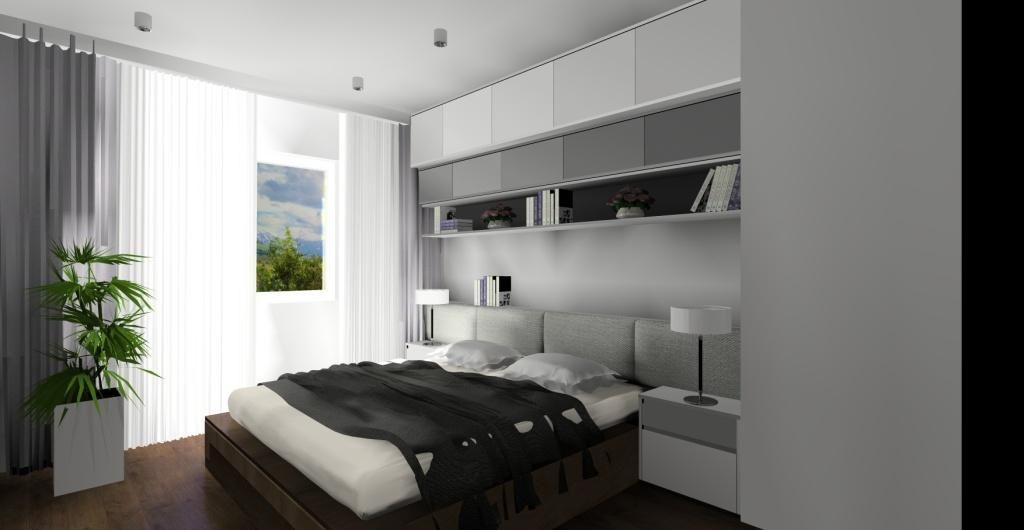 Nowoczesna aranżacja sypialni w kolorach biały, szary, duże łóżko, zabudowa nad łóżkiem, szafki nocne, zagłówek tapicerowany, lampki nocne, podłoga drewniana, tuby