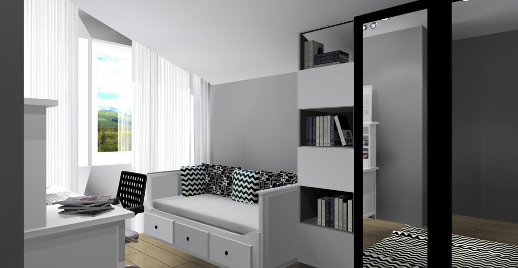 Pomysł na pokój dla nastolatki w stylu nowoczesnym, biały, czarny, łóżko z oparciem, biurko z nadstawką, szafa z lustrem, regały, dywan biało-czarny, poduszki białe i czarne
