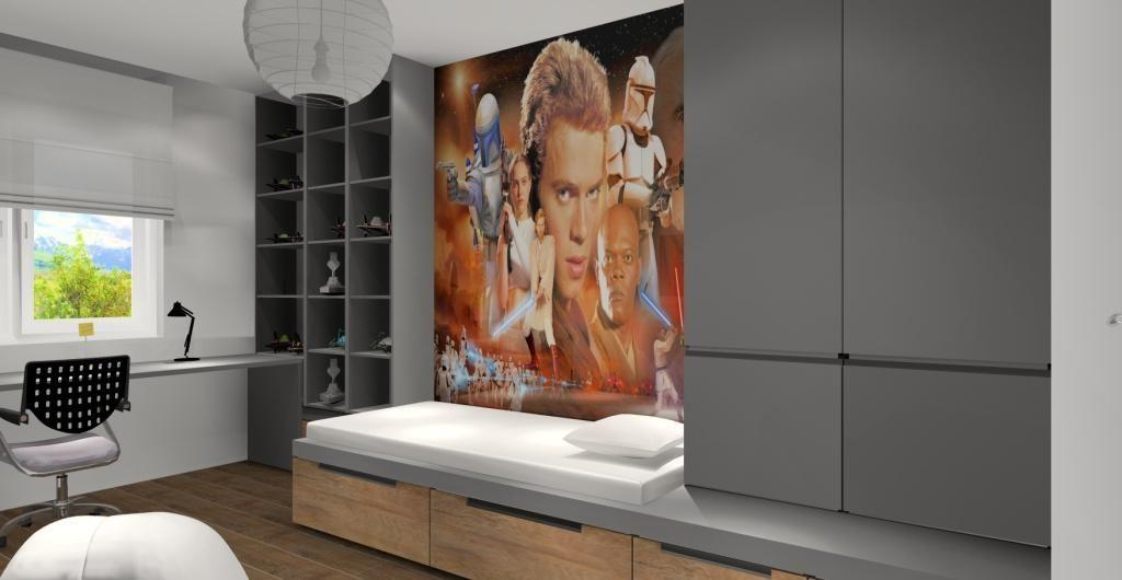 Pokój dla nastolatka, aranżacja pokoju młodzieżowego w stylu nowoczesnym, szary, drewno, zabudowa z łóżkiem, biurko, regał