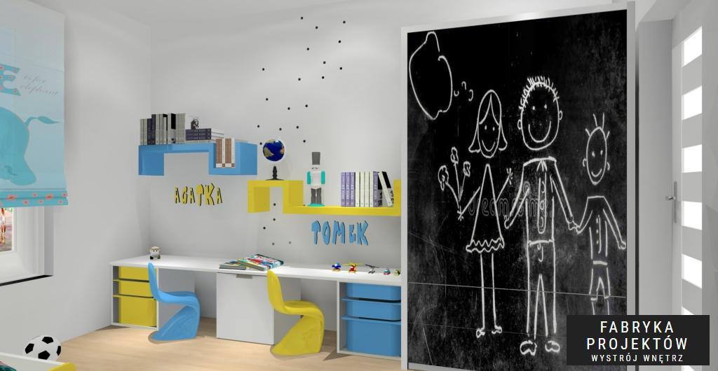 Projekt pokoju dziecka dla 2 i 3 latka, Nowoczesny pokój w kolorze biały, niebieski, żółty, szafa pomalowana farbą tablicową