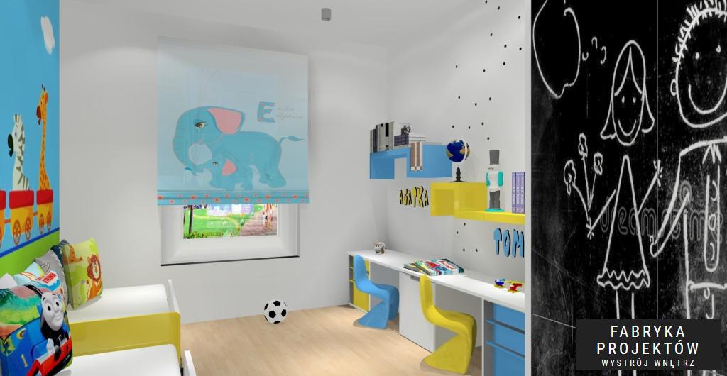 projekt pokoju nowoczesnego dla dziecka, fototapeta niebieska - biała, łóżka dziecięce z imionami