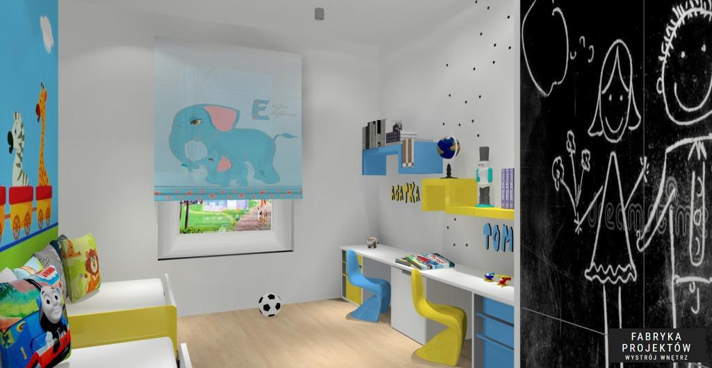 Projekt pokoju dla dziecka, nowoczesne wnętrze pokoju dla dziecka, roleta ze słoniem