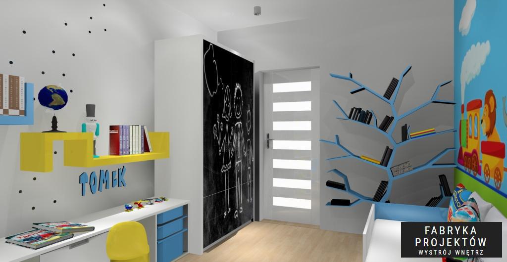Pokój dziecięcy, nowoczesne wnętrze pokoju, szafa pomalowana farbą tablicową czarną