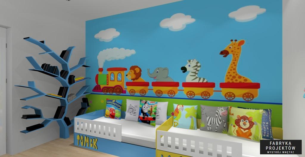 Nowoczesny projekt pokoju dziecięcego, drzewo na książki, fototapeta ciuchcia ze zwierzetami, zółta, biała, niebieska