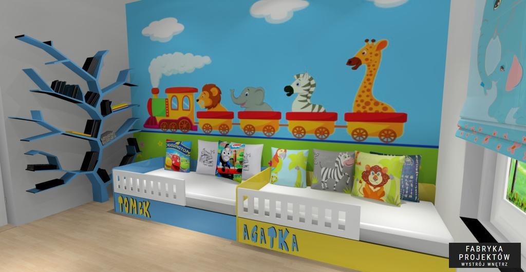 Projekt pokoju dla dzieci w wieku 2-3 lat, łóżka z imionami dzieeci, poduszki dekoracyjne