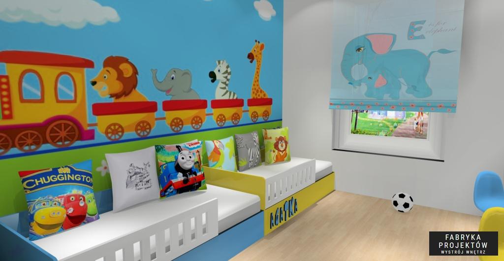 Pokój dla dzieci, niebieski, biały, żółty, poduszki dekoracyjne z tomkiem