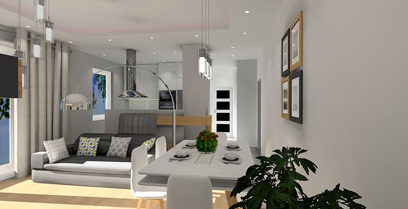 nowoczesny salon z kuchnią, biały, szary, drewno