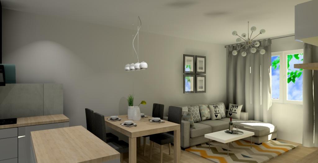 salon z kuchnią, biały, drewno, lampy wiszące