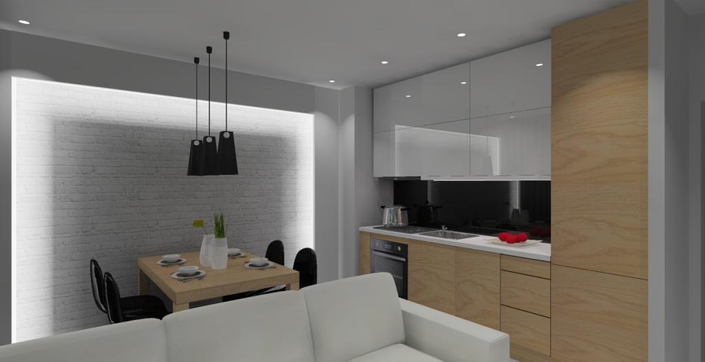 salon z kuchnią, biały, drewno, czarny