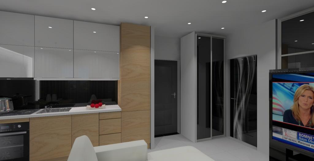 salon z kuchnią w kolorze biały, drewno, czarny