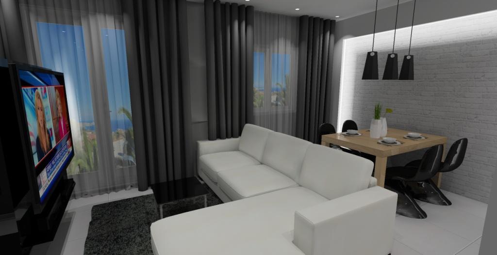 nowoczesny salon z kuchnią w kolorze biały, czarny, drewno